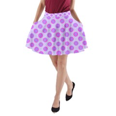 Pastel Pink Mod Circles A-Line Pocket Skirt by BrightVibesDesign