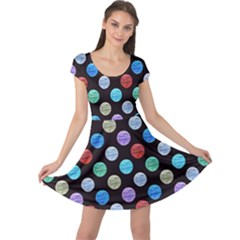 Death Star Polka Dots In Multicolour Cap Sleeve Dresses by fashionnarwhal