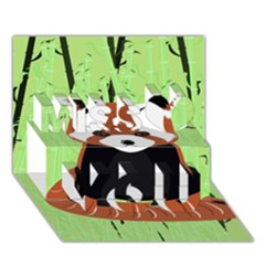 Red Panda Bamboo Firefox Animal Miss You 3d Greeting Card (7x5)
