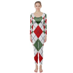 Red Green White Argyle Navy Long Sleeve Catsuit by AnjaniArt
