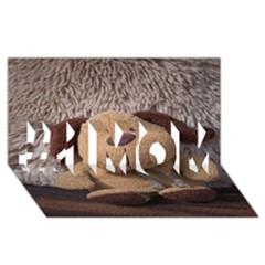 Stuffed Animal Fabric Dog Brown #1 Mom 3d Greeting Cards (8x4) by AnjaniArt