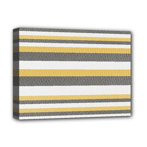 Textile Design Knit Tan White Deluxe Canvas 16  X 12   by AnjaniArt