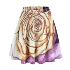 Texture Flower Pattern Fabric Design High Waist Skirt by AnjaniArt
