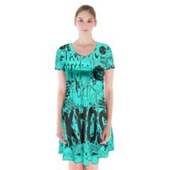 Typography Illustration Chaos Short Sleeve V-neck Flare Dress by AnjaniArt
