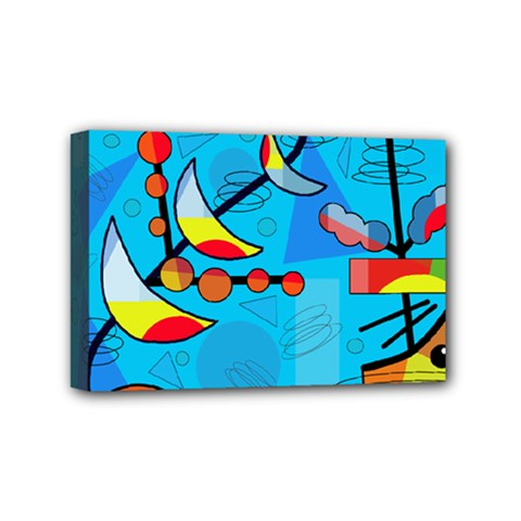 Happy Day   Blue Mini Canvas 6  X 4  by Valentinaart