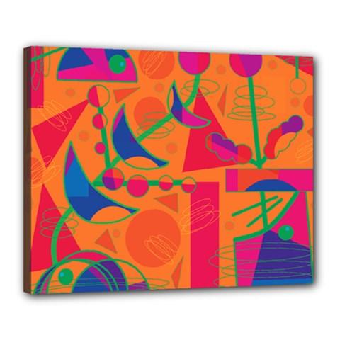 Happy Day   Orange Canvas 20  X 16  by Valentinaart