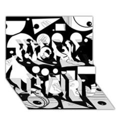 Happy day - black and white WORK HARD 3D Greeting Card (7x5) by Valentinaart