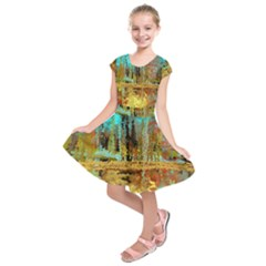 Autumn Landscape Impressionistic Design Kids  Short Sleeve Dress