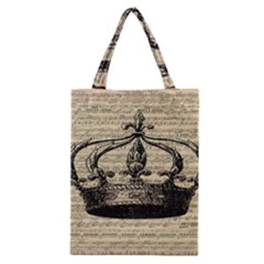 Vintage Music Sheet Crown Song Classic Tote Bag by AnjaniArt