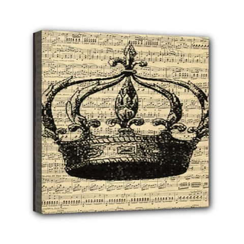 Vintage Music Sheet Crown Song Mini Canvas 6  X 6  by AnjaniArt