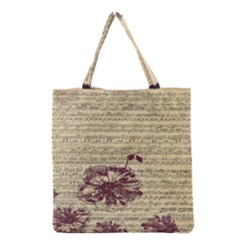 Vintage Music Sheet Song Musical Grocery Tote Bag by AnjaniArt