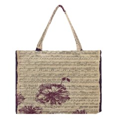 Vintage Music Sheet Song Musical Medium Tote Bag by AnjaniArt