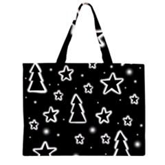 Black and white Xmas Large Tote Bag by Valentinaart