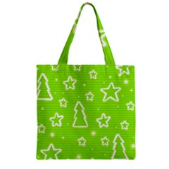 Green Christmas Zipper Grocery Tote Bag by Valentinaart