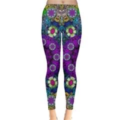 Colors And Flowers In A Mandala Leggings  by pepitasart