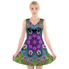 Colors And Flowers In A Mandala V Neck Sleeveless Skater Dress by pepitasart