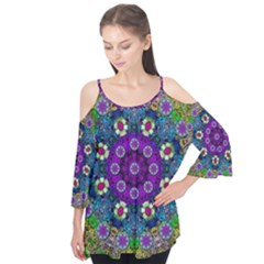 Colors And Flowers In A Mandala Flutter Tees by pepitasart