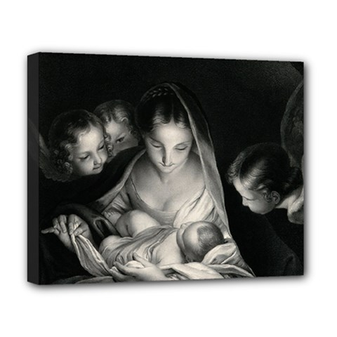Nativity Scene Birth Of Jesus With Virgin Mary And Angels Black And White Litograph Deluxe Canvas 20  X 16   by yoursparklingshop