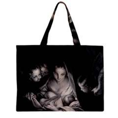 Nativity Scene Birth Of Jesus With Virgin Mary And Angels Black And White Litograph Mini Tote Bag by yoursparklingshop