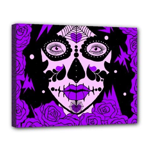 Sugar Skull Purple Roses Canvas 14  X 11  by burpdesignsA