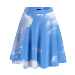 Clouds And Blue Sky High Waist Skirt by picsaspassion