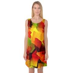Indian Summer Cubes Sleeveless Satin Nightdress by designworld65