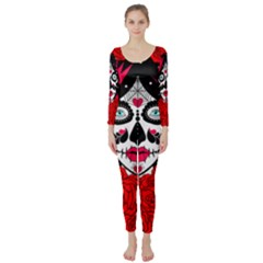 Sugar Skull Red Roses Long Sleeve Catsuit by burpdesignsA