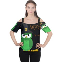 Who Is A Witch?   Green Women s Cutout Shoulder Tee by Valentinaart