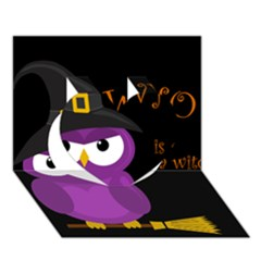 Who Is A Witch?   Purple Heart 3d Greeting Card (7x5) by Valentinaart