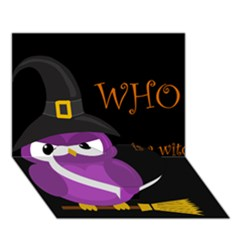 Who Is A Witch?   Purple Heart Bottom 3d Greeting Card (7x5) by Valentinaart
