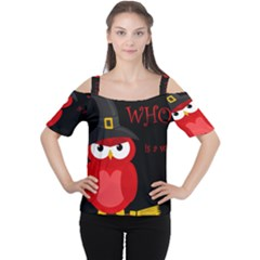 Who Is A Witch?   Red Women s Cutout Shoulder Tee by Valentinaart