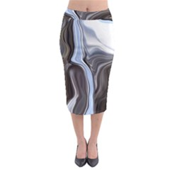 Metallic And Chrome Midi Pencil Skirt by theunrulyartist
