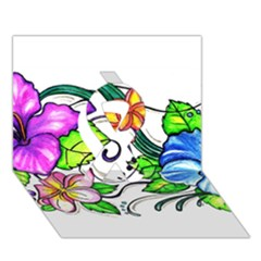 Tropical Hibiscus Flowers Ribbon 3d Greeting Card (7x5) by EverIris