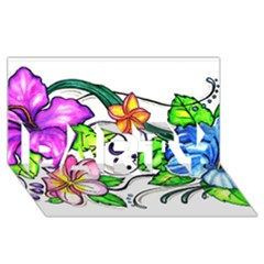 Tropical Hibiscus Flowers Party 3d Greeting Card (8x4) by EverIris