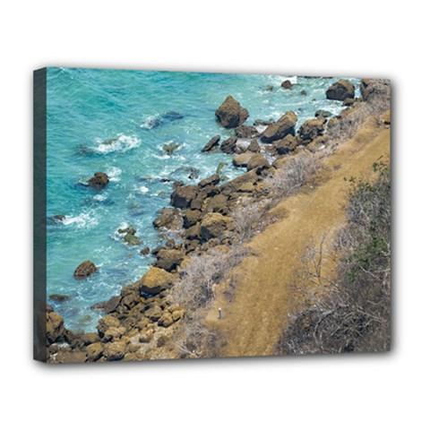 Aerial View Pacific Ocean Coastline Puerto Lopez Ecuador Canvas 14  X 11  by dflcprints