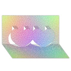 Rainbow Colorful Grid Twin Hearts 3d Greeting Card (8x4) by designworld65
