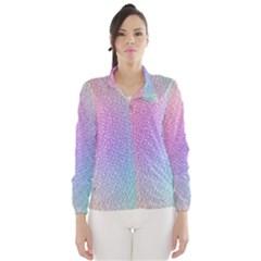Rainbow Colorful Grid Wind Breaker (women) by designworld65