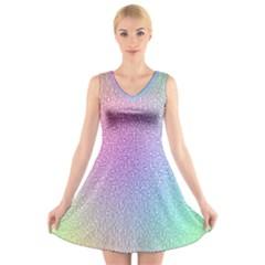 Rainbow Colorful Grid V Neck Sleeveless Skater Dress by designworld65