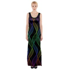 Rainbow Helix Black Maxi Thigh Split Dress by designworld65