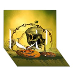 Halloween, Funny Pumpkins And Skull With Spider I Love You 3D Greeting Card (7x5) by FantasyWorld7
