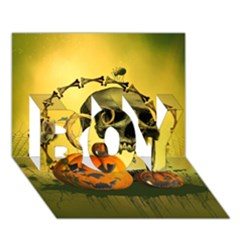 Halloween, Funny Pumpkins And Skull With Spider Boy 3d Greeting Card (7x5) by FantasyWorld7