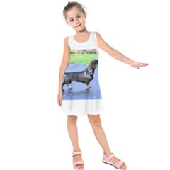 Wirehaired Dachshund Full Kids  Sleeveless Dress by TailWags