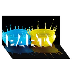 Bicolor Paintink Drop Splash Reflection Blue Yellow Black Party 3d Greeting Card (8x4) by AnjaniArt