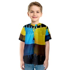 Bicolor Paintink Drop Splash Reflection Blue Yellow Black Kids  Sport Mesh Tee by AnjaniArt