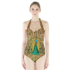 Bird Peacock Feathers Halter Swimsuit by AnjaniArt