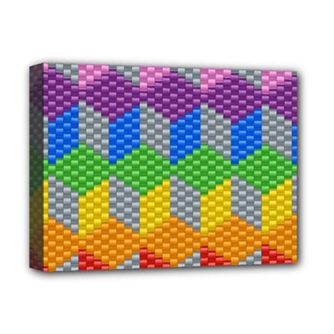 Block Pattern Kandi Pattern Deluxe Canvas 16  X 12   by AnjaniArt