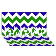Blue And Green Chevron Pattern Party 3d Greeting Card (8x4) by AnjaniArt