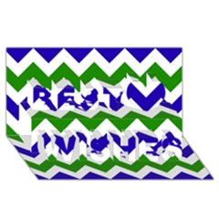 Blue And Green Chevron Pattern Best Wish 3d Greeting Card (8x4) by AnjaniArt