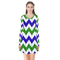 Blue And Green Chevron Pattern Flare Dress by AnjaniArt