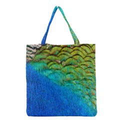 Blue Peacock Feathers Grocery Tote Bag by AnjaniArt